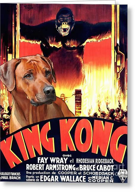 Rhodesian Greeting Cards - Rhodesian Ridgeback Art Canvas Print - King Kong Movie Poster Greeting Card by Sandra Sij