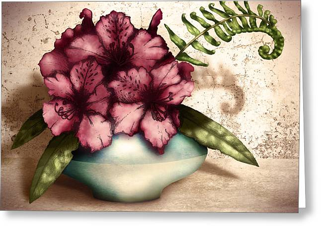Vignette Greeting Cards - Rhododendron I Greeting Card by April Moen