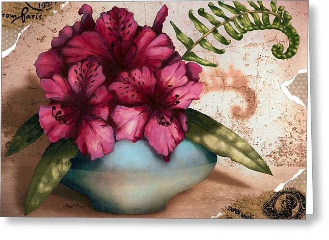 Vintage Floral Greeting Cards - Rhododendron II Greeting Card by April Moen