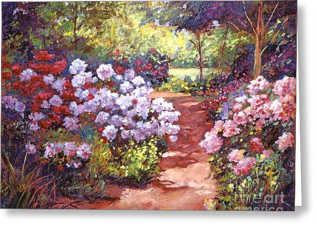 Gardenscapes Greeting Cards - Rhododendron Stroll Greeting Card by David Lloyd Glover