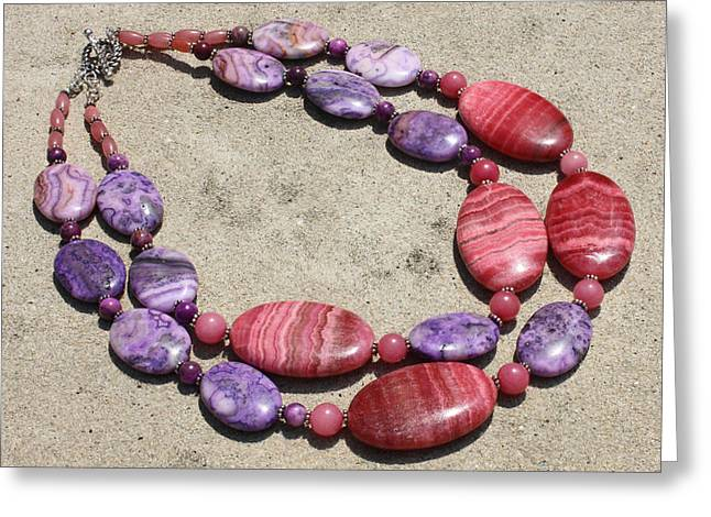 Colorful Jewelry Greeting Cards - Rhodonite and Crazy Lace Agate Double Strand Chunky Necklace 3636 Greeting Card by Teresa Mucha