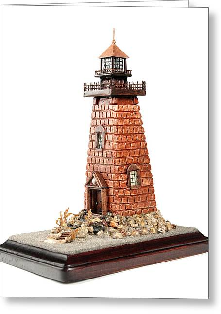 Beach Decor Sculptures Greeting Cards - Rhody Lighthouse Greeting Card by Seaside Artistry