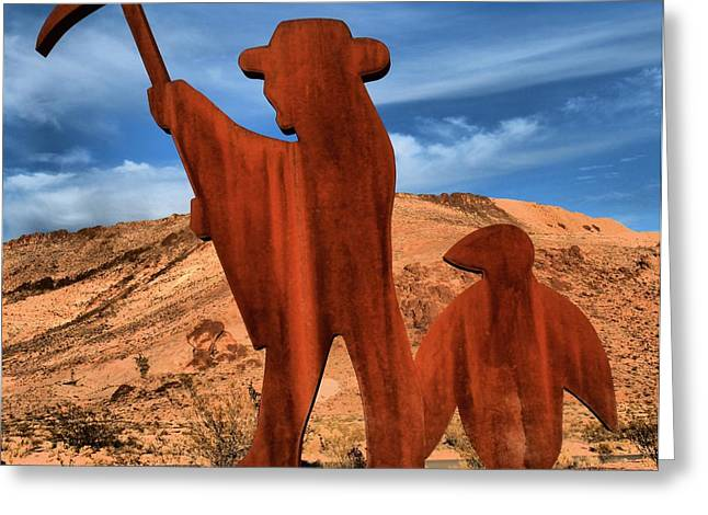 Miners Ghost Greeting Cards - Rhyolite Miners Greeting Card by Adam Jewell