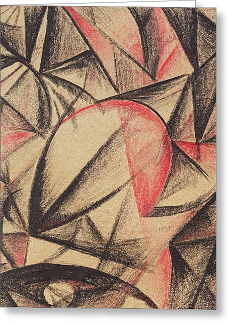 Red And Black Greeting Cards - Rhythm of Forms Greeting Card by Alexander Bogomazov