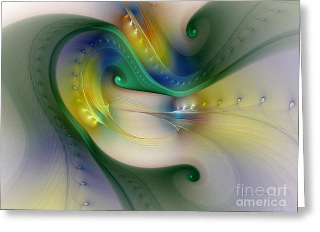 Subtile Greeting Cards - Rhythm of Life-Abstract Fractal Art Greeting Card by Karin Kuhlmann