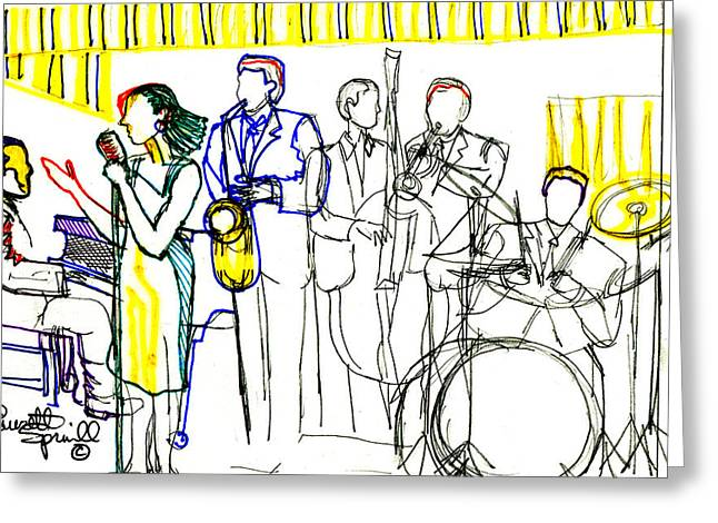 Famous African Americans Drawings Greeting Cards - Rhythm of Life Greeting Card by Everett Spruill