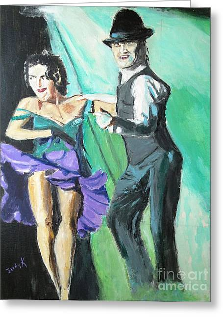 Modern Dance Greeting Cards - Rhythm of the Night Greeting Card by Judy Kay