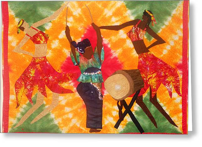 Black Tapestries - Textiles Greeting Cards - Rhythms Greeting Card by Aisha Lumumba