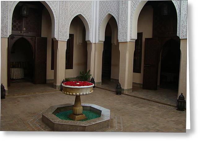 Moroccan Courtyard Greeting Cards - Riad Courtyard Greeting Card by Karen j Kobrin Cohen