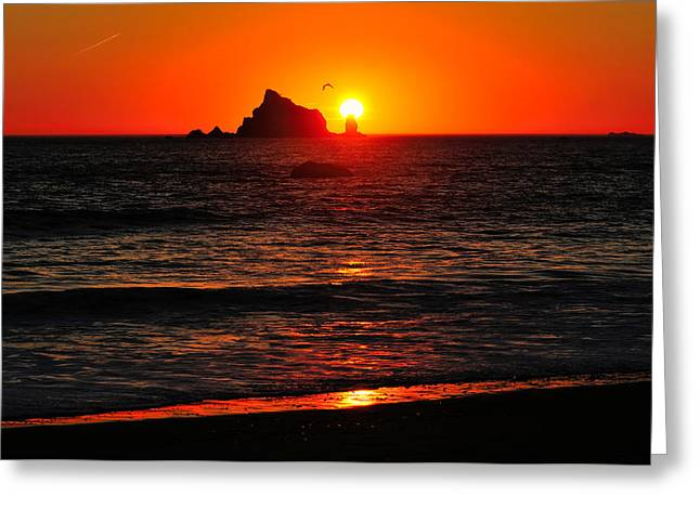 Pacific Ocean Prints Greeting Cards - Rialto Beach Sunset Greeting Card by Greg Norrell