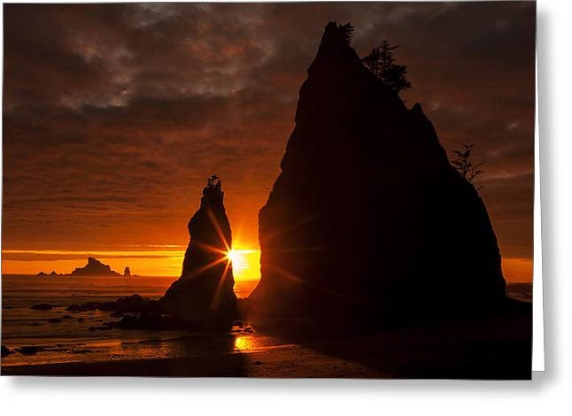 Sea Stack Greeting Cards - Rialto Beach Sunset Percusion Greeting Card by Mark Kiver