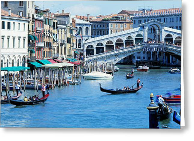 Historical Buildings Photographs Greeting Cards - Rialto Bridge & Grand Canal Venice Italy Greeting Card by Panoramic Images