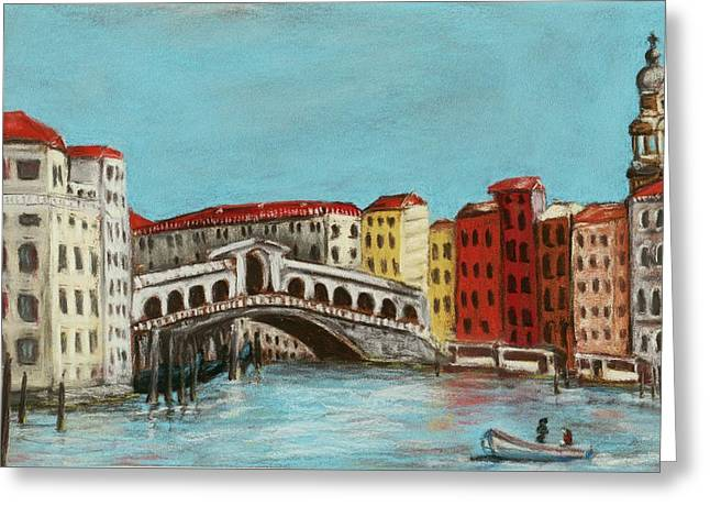 Red Buildings Pastels Greeting Cards - Rialto Bridge Greeting Card by Anastasiya Malakhova
