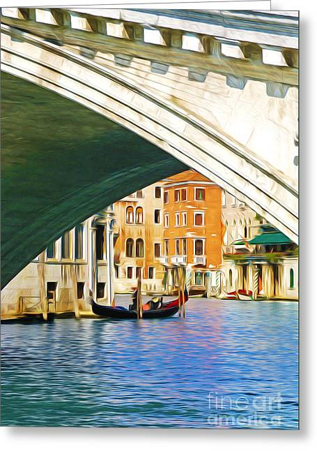 Famous Bridge Greeting Cards - Rialto Bridge and Gondola Greeting Card by Laura D Young