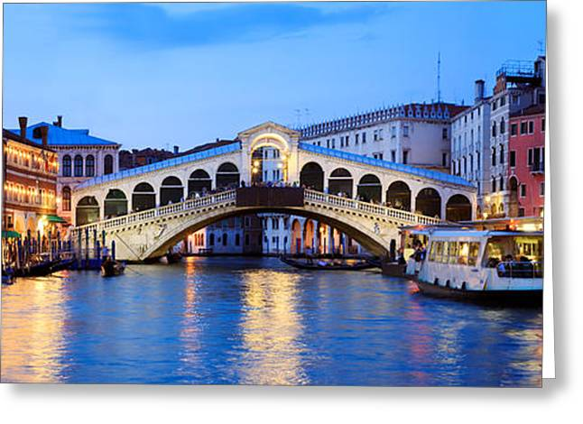 Italian Sunset Greeting Cards - Rialto Bridge at night Venice Italy Greeting Card by Matteo Colombo