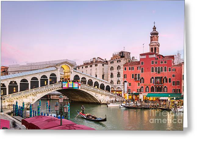 Gondolier Greeting Cards - Rialto bridge at sunset - Venice Greeting Card by Matteo Colombo