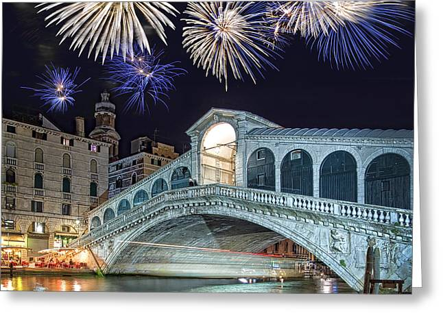 Most Greeting Cards - Rialto bridge fireworks Greeting Card by Delphimages Photo Creations