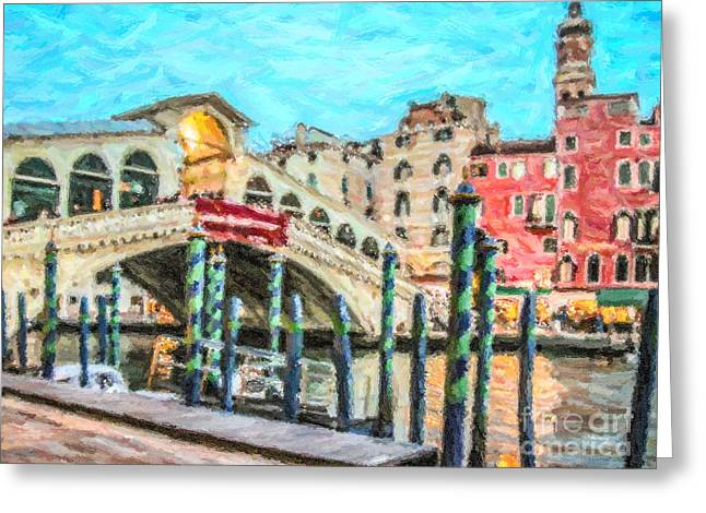 Venezia Greeting Cards - Rialto Bridge Greeting Card by Liz Leyden