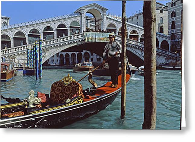 Rialto Bridge Greeting Cards - Rialto Bridge Over The Grand Canal Greeting Card by Panoramic Images