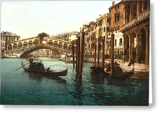 18th Century Mixed Media Greeting Cards - Rialto Bridge Venice Italy Refurbished Greeting Card by L Brown