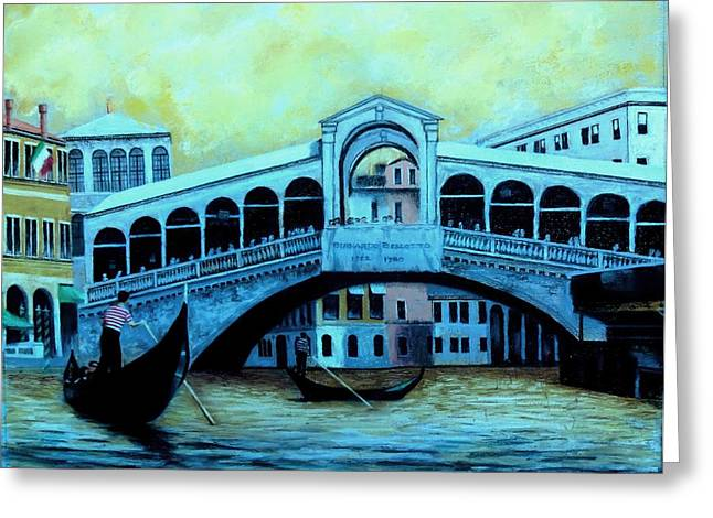 Gondolier Pastels Greeting Cards - Rialto Bridge  Greeting Card by Vincent Mancuso
