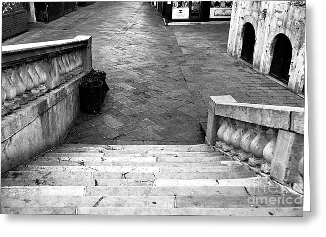 Stone Steps Greeting Cards - Rialto Morning Greeting Card by John Rizzuto