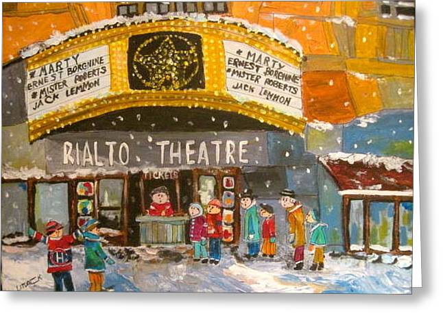Litvack Greeting Cards - Rialto Theatre 1956 Greeting Card by Michael Litvack