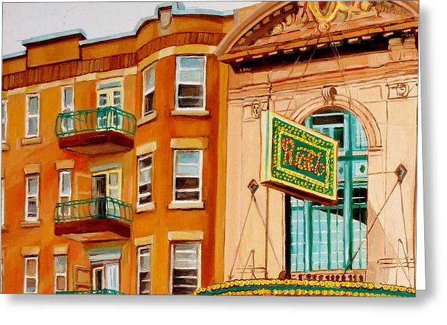 Forties Paintings Greeting Cards - Rialto Theatre-montreal Classic Building-vintage Marquee Greeting Card by Carole Spandau
