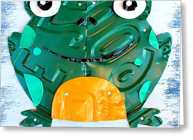 Ribbit the Frog License Plate Art Greeting Card by Design Turnpike
