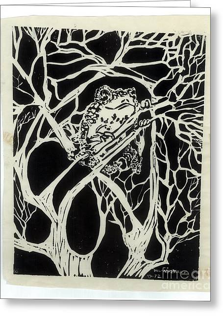 Linoleum Greeting Cards - Ribbit Greeting Card by Valerie Vanorden