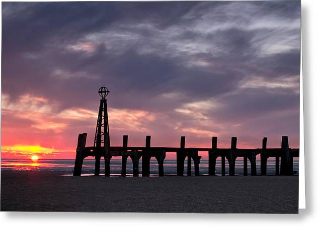 Metal Pier Greeting Cards - Ribbles Remnants at Lytham Greeting Card by Chris Frost