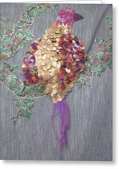 Bird On Tree Tapestries - Textiles Greeting Cards - Ribbon Bird Greeting Card by Cherie Sexsmith