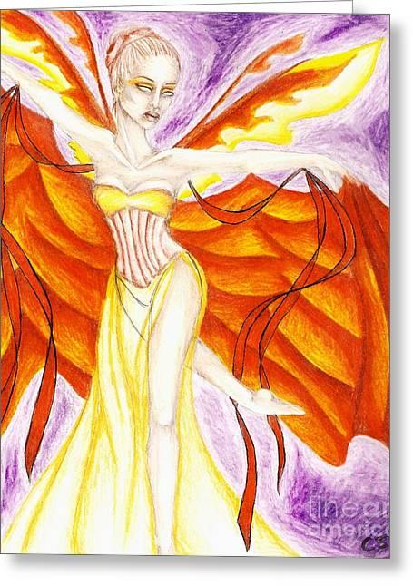 Aura Drawings Greeting Cards - Ribbon Dancer Greeting Card by Coriander  Shea