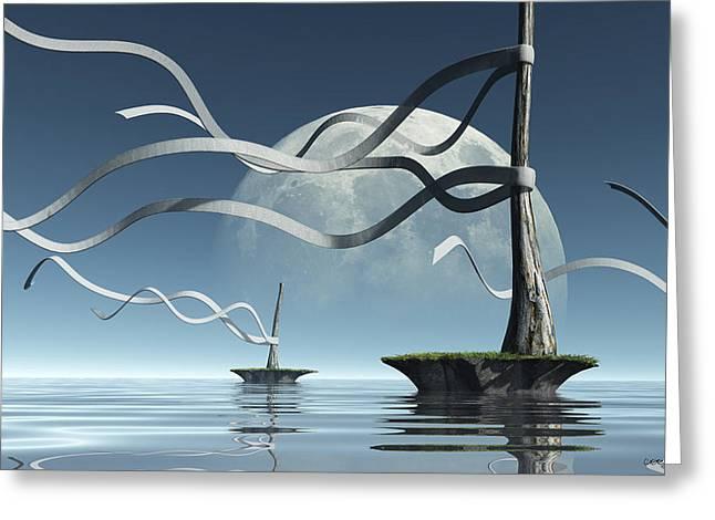 Sea Moon Full Moon Digital Greeting Cards - Ribbon Island Greeting Card by Cynthia Decker
