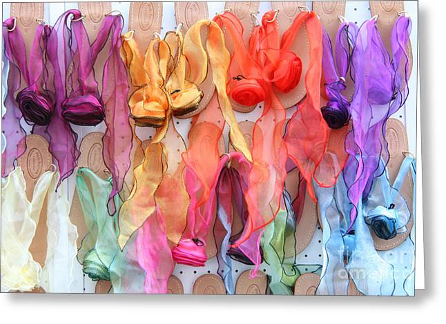 Italian Shopping Photographs Greeting Cards - Ribboned Sandals Greeting Card by Holly C. Freeman
