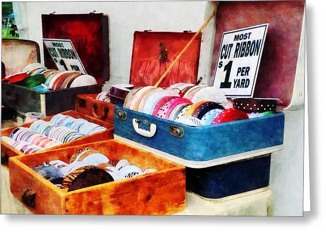 Seamstress Greeting Cards - Ribbons For Sale Greeting Card by Susan Savad