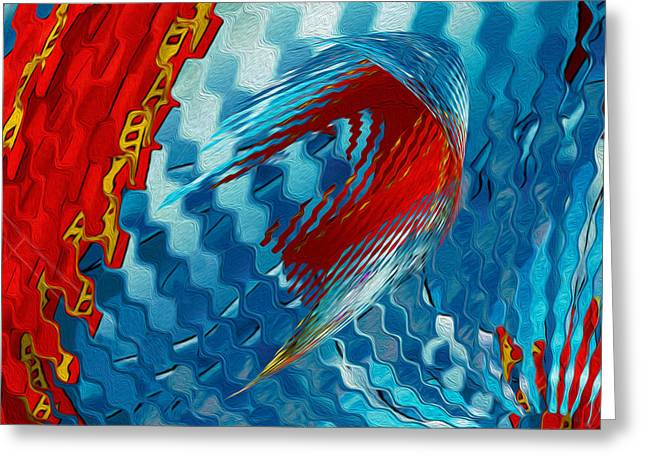Abstracted Colorful Reality Greeting Cards - Ribbons Journey Greeting Card by Jack Zulli