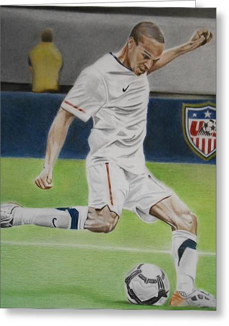 Dynamos Drawings Greeting Cards - Ricardo Clark USMNT Greeting Card by Brian Broadway