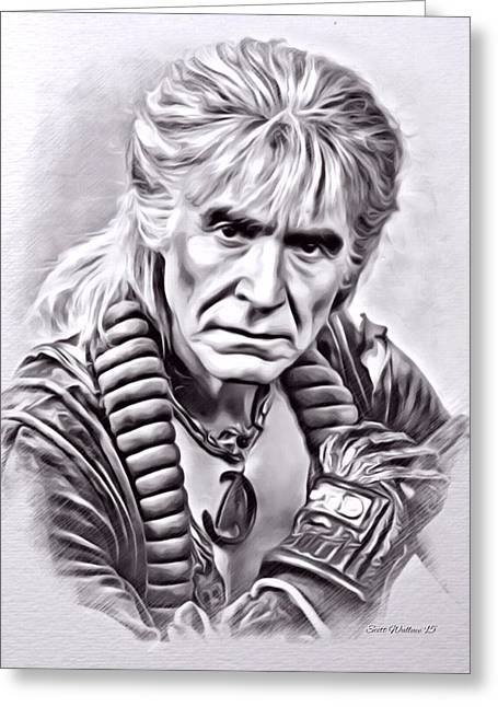 80s Greeting Cards - Ricardo Montalban Star Trek Greeting Card by Scott Wallace