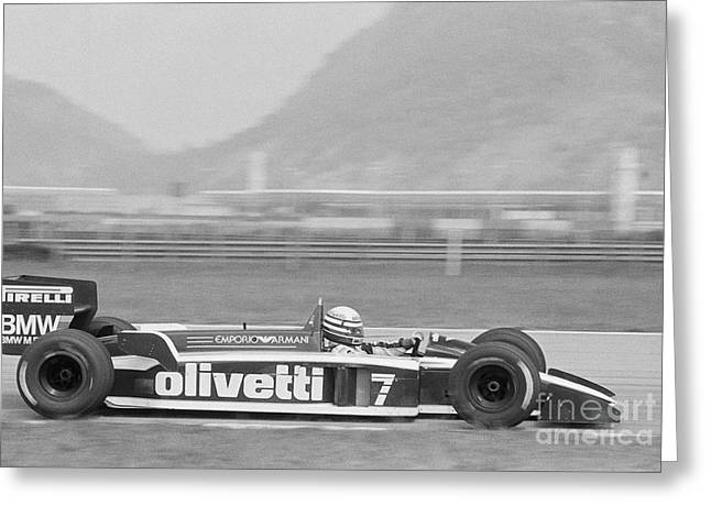Olivetti Photographs Greeting Cards - Riccardo Patrese. 1986 Brazilian Grand Prix Greeting Card by Oleg Konin