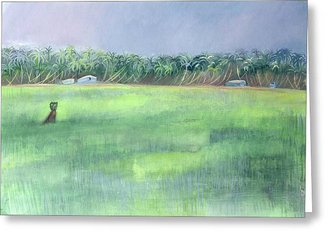 Cultivation Greeting Cards - Rice Fields, Goa, India, 1997 Oil On Paper Greeting Card by Sophia Elliot