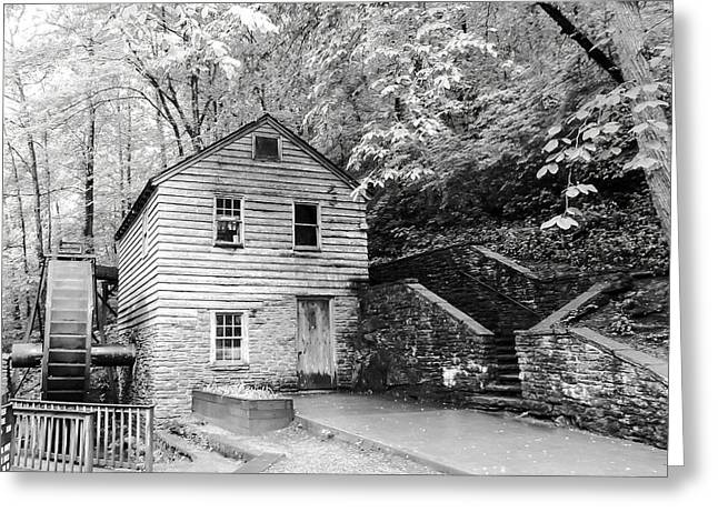 Tennessee Historic Site Photographs Greeting Cards - Rice Grist Mill Norris Dam State Park Tennessee - BW Greeting Card by Cynthia Woods