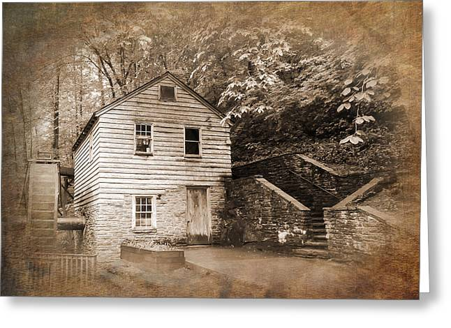 Tennessee Historic Site Photographs Greeting Cards - Rice Grist Mill Norris Dam State Park Tennessee Textured Greeting Card by Cynthia Woods