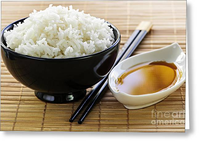Mat Greeting Cards - Rice meal Greeting Card by Elena Elisseeva