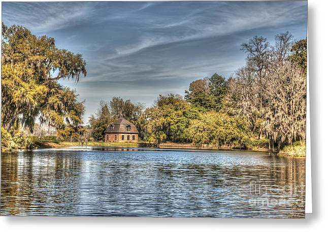 Charleston Pathway Greeting Cards - Rice Mill Lake Greeting Card by Dale Powell