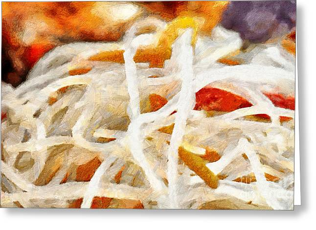 Noodles Greeting Cards - Rice noodles painting Greeting Card by Magomed Magomedagaev