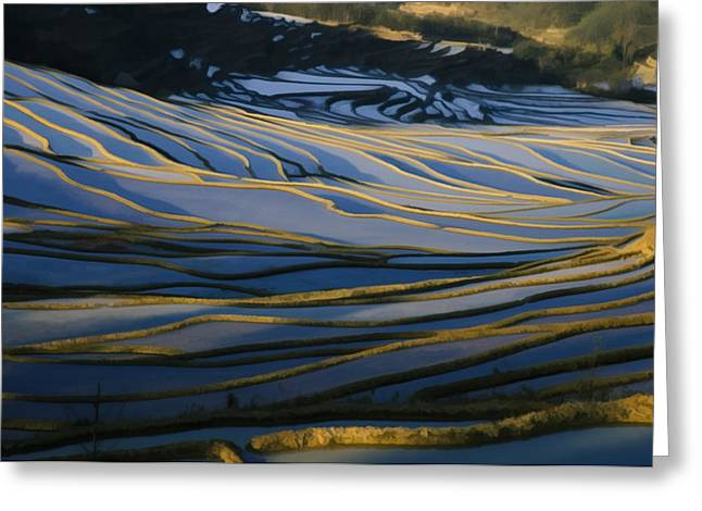 Chinese Peasant Greeting Cards - Rice Terraces Of Yuanyang 1 Greeting Card by Lanjee Chee