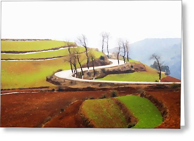 Chinese Peasant Greeting Cards - Rice terraces of yuanyang 4 Greeting Card by Lanjee Chee