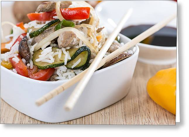 Basmati Greeting Cards - Rice with mixed Vegetables Greeting Card by Handmade Pictures
