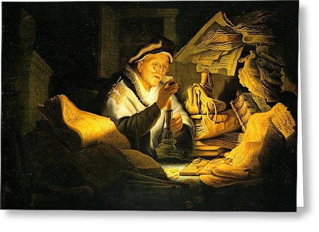Rembrandt Lighting Greeting Cards - Rich Man In Parable Greeting Card by Rembrandt